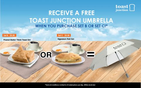 Free Toast Junction Umbrella with purchase of Set B or C!